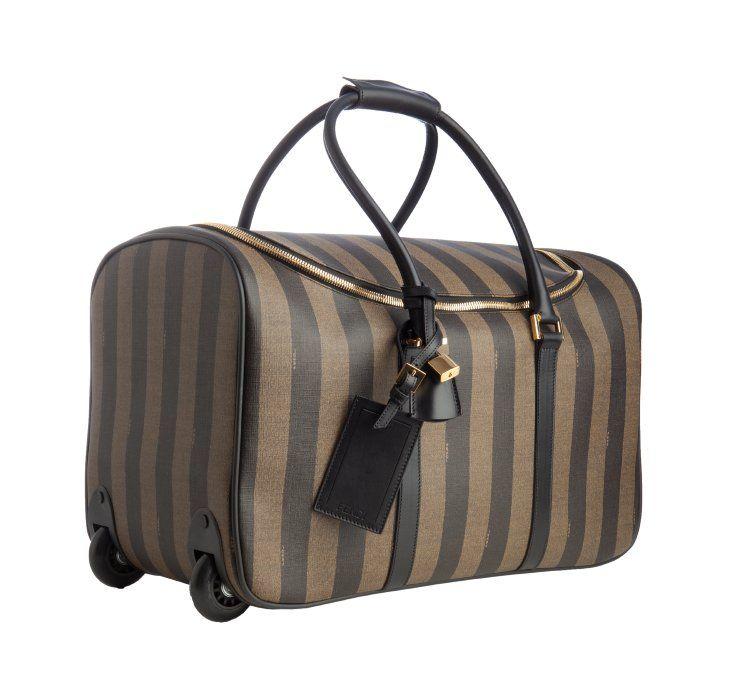 1a23c3afb56d Fendi tobacco striped coated canvas rolling bag