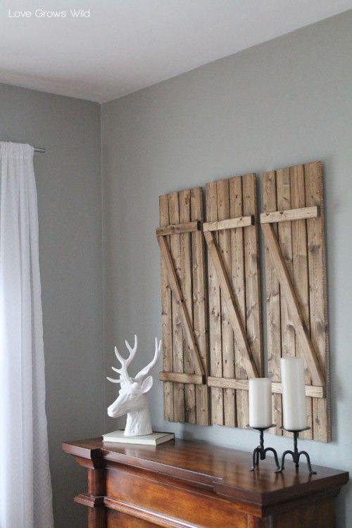 Rustic Diy Barn Wood Shutters Interiordecorinspiration Wallart Diy Living Room Decor Living Room Decor Rustic Decor