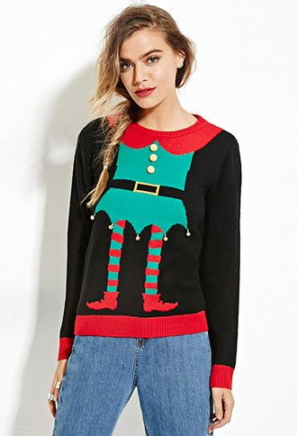 Elf Graphic Bells Sweater Forever 21 2000147290 My Work