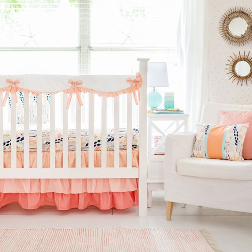 Peach Crib Protector Bedding Set Summer Grove Ii Collection