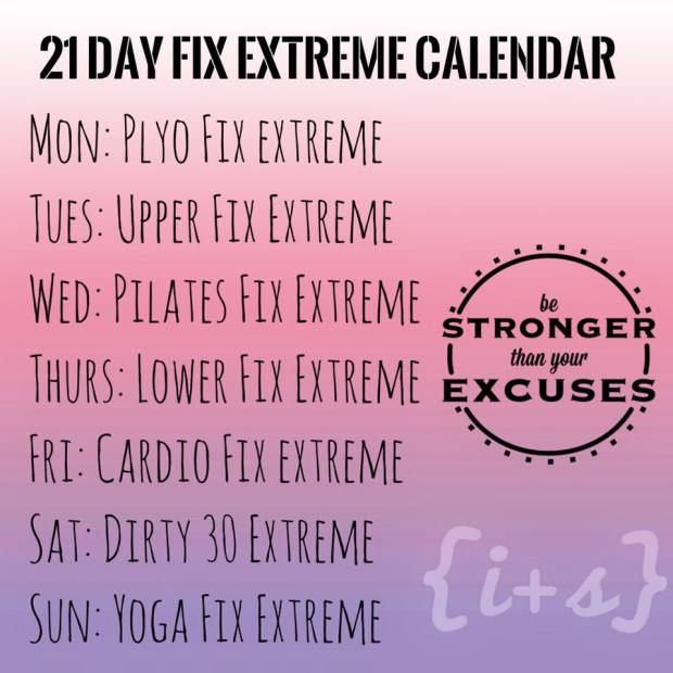 21 Day Fix Extreme Workout calendar