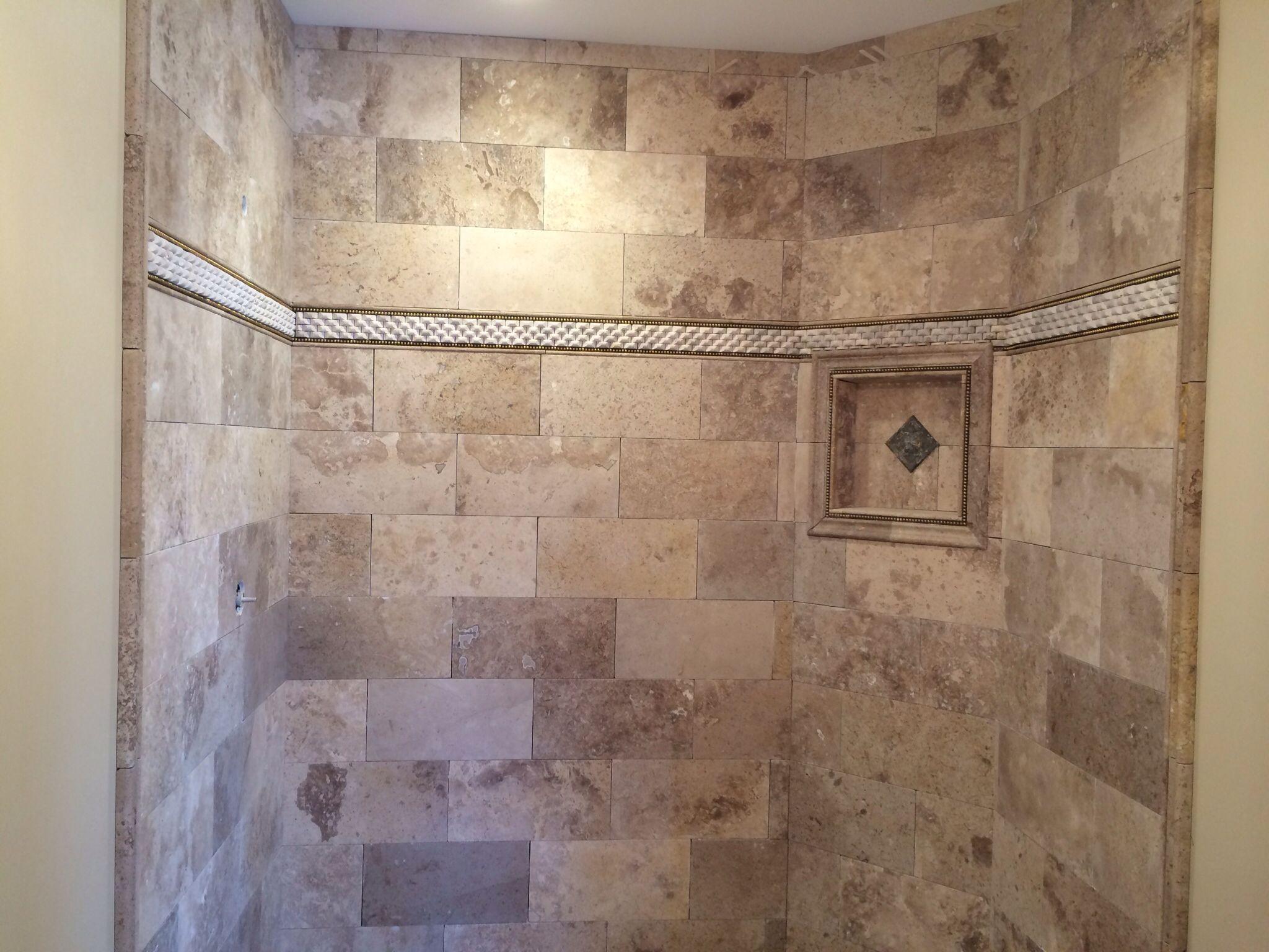 Travertine Brick Lay Shower Surround Flagg Construction Flagg