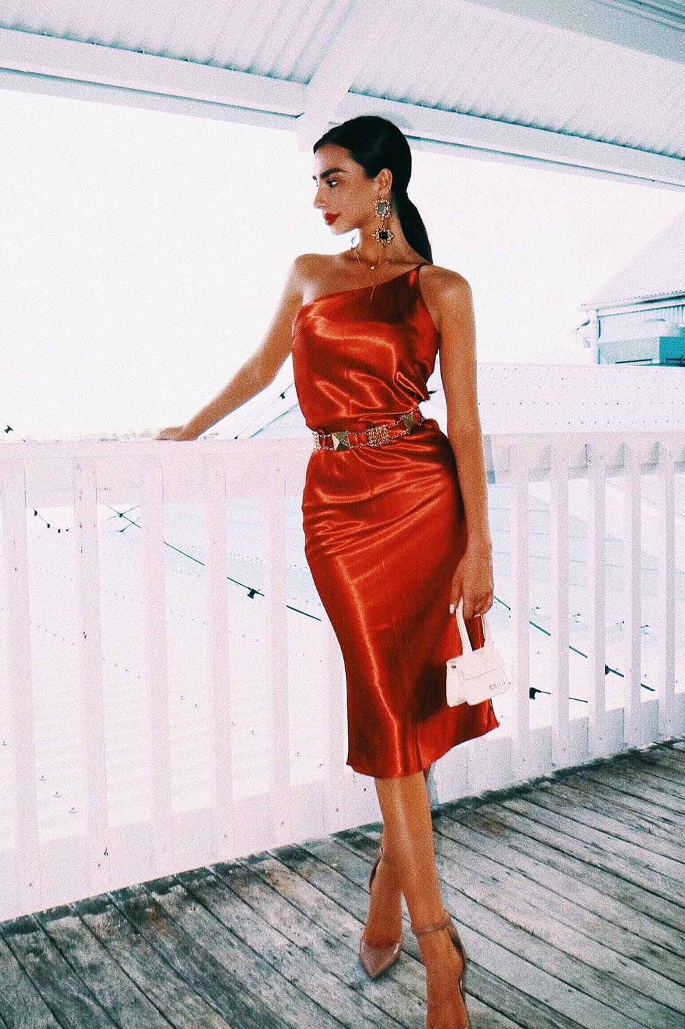 f8e44c572dd861 City In Italy One-Shoulder Midi Dress // Rust – Verge Girl. The Perfect Mix  Of Sexy & Cool! This silky number is the ultimate date night dress, style  with ...