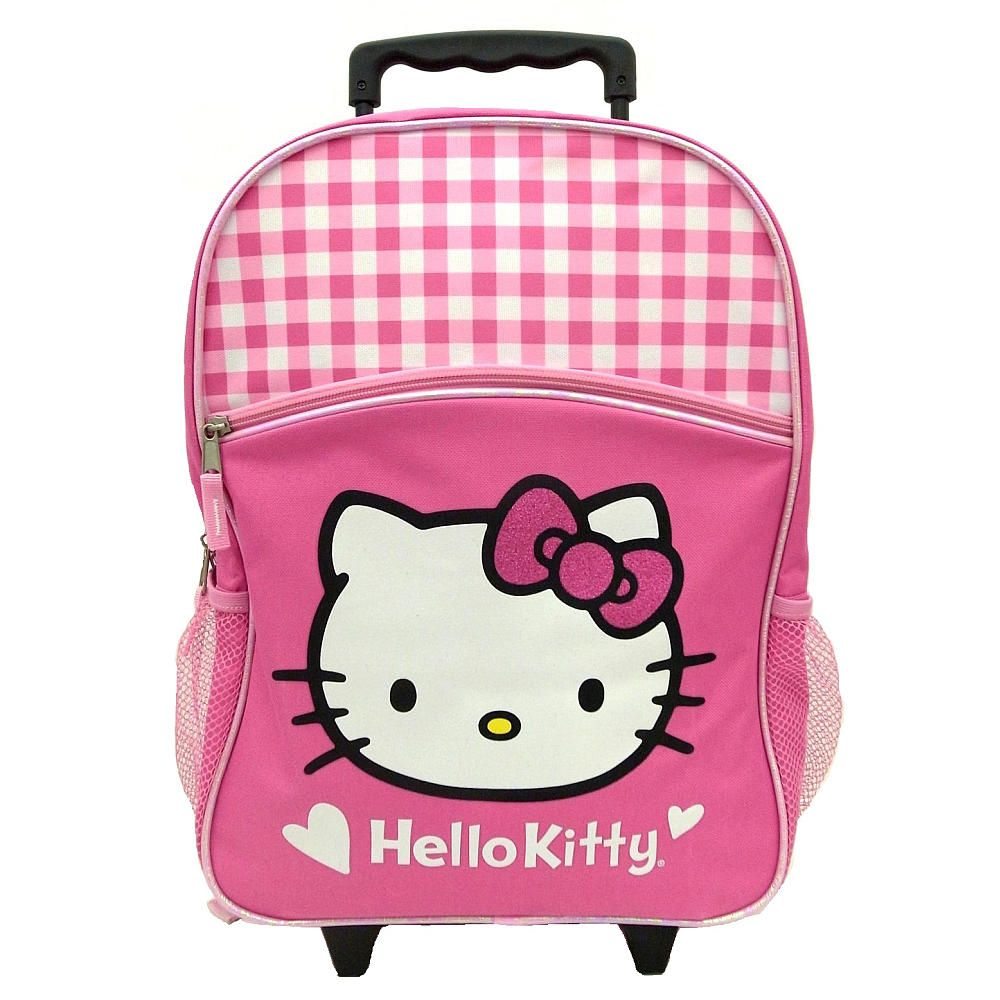 "New Hello Kitty  12/"" Rolling BackPack Rolling School Bag Ribbons Black//Pink!!!"