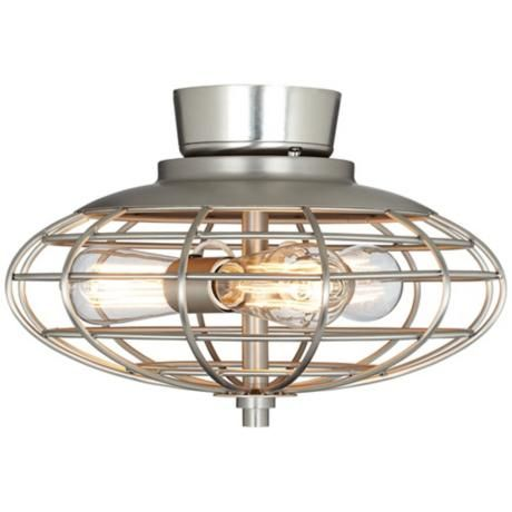 Brushed nickel industrial cage 3 60 watt ceiling fan light kit y2848 u8886 lamps plus