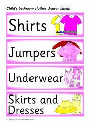 Child's bedroom clothes drawer labels (SB3138) - SparkleBox