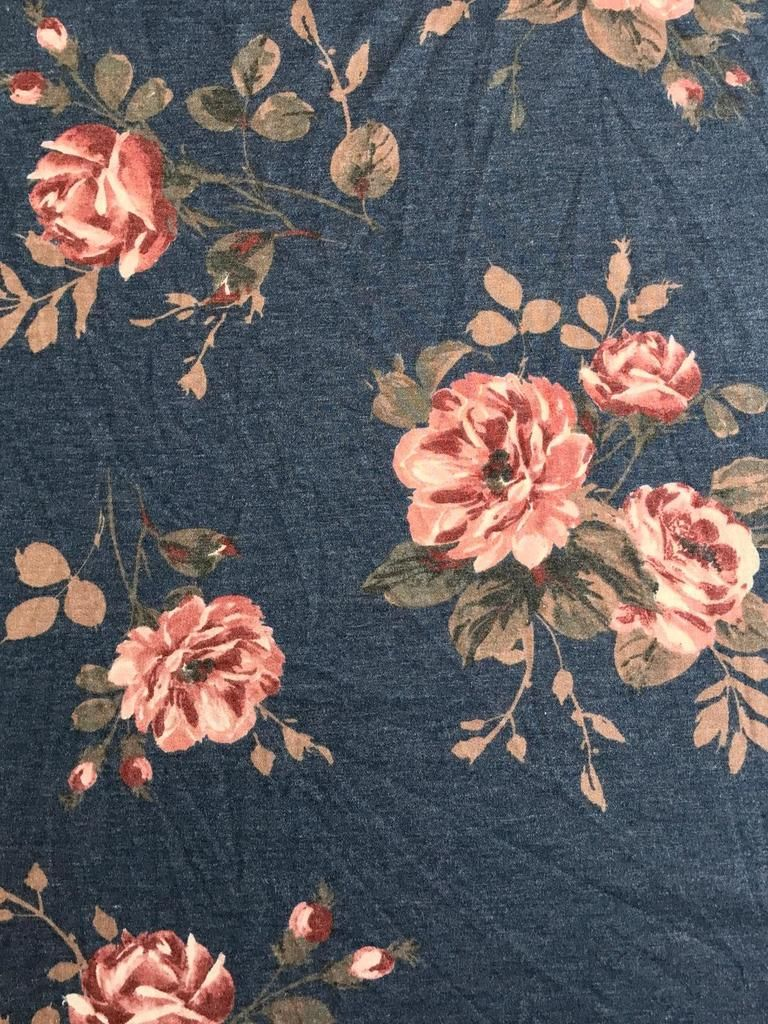 Abby on Dark Denim French Terry Blue Olive Floral French