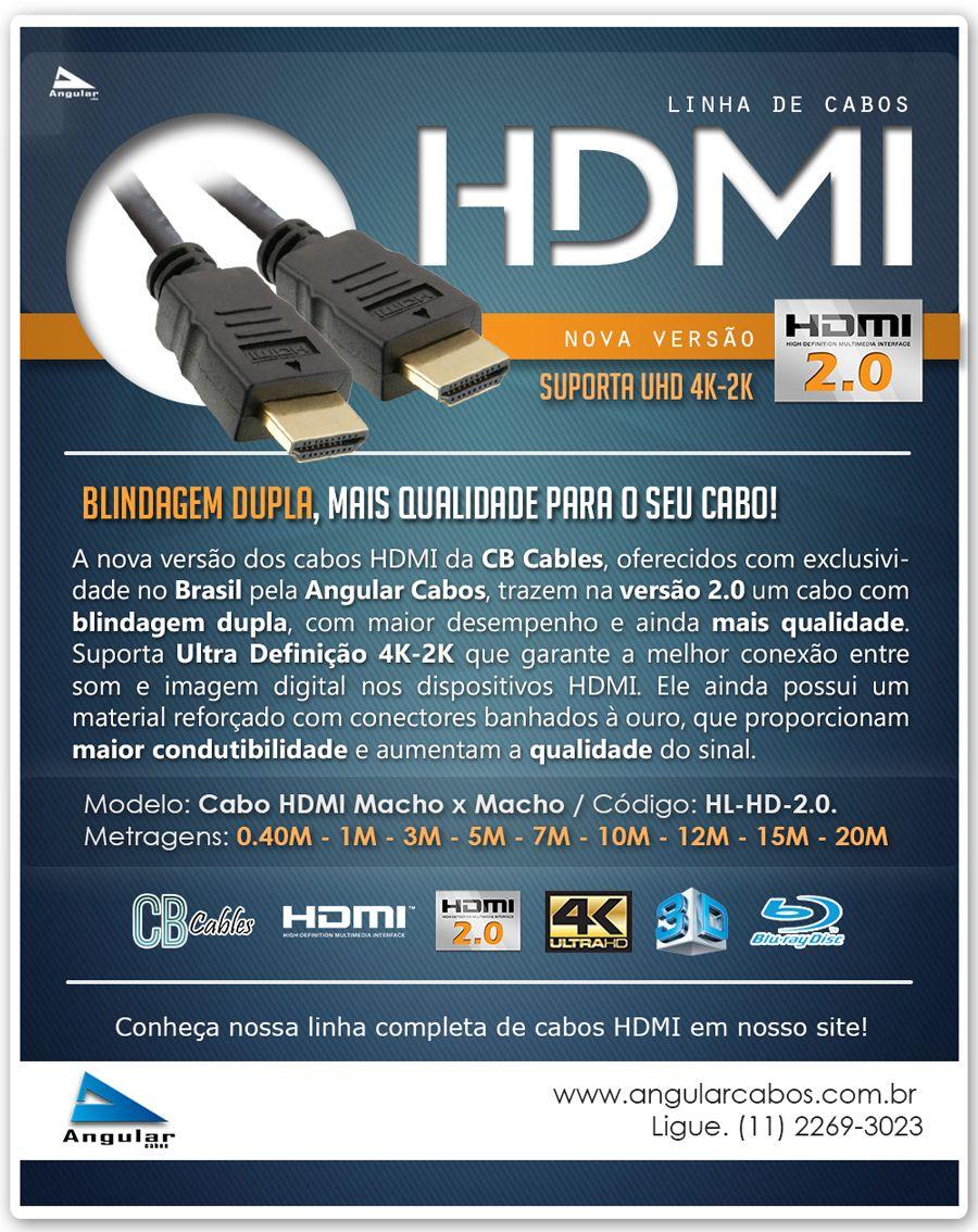 Novo Cabo HDMI versão 2.0 UHD 4K2K com blindagem dupla. HL-HD-2.0