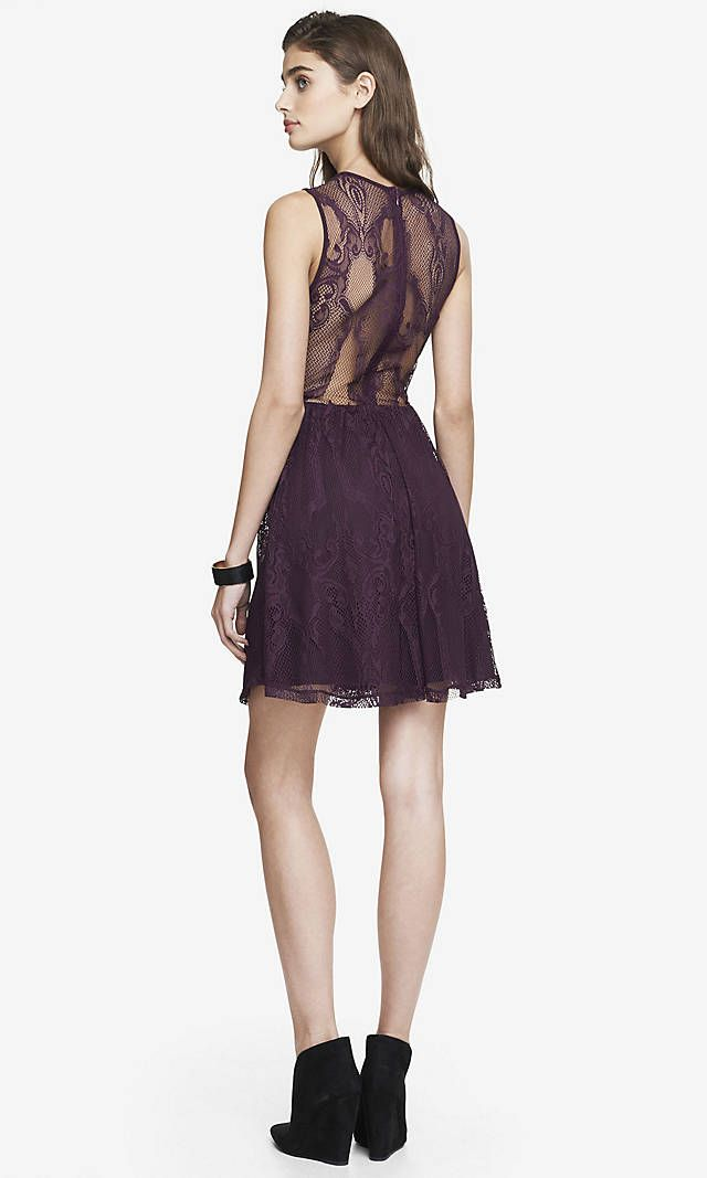 LACE SKATER DRESS - DARK BERRY  73d67017c