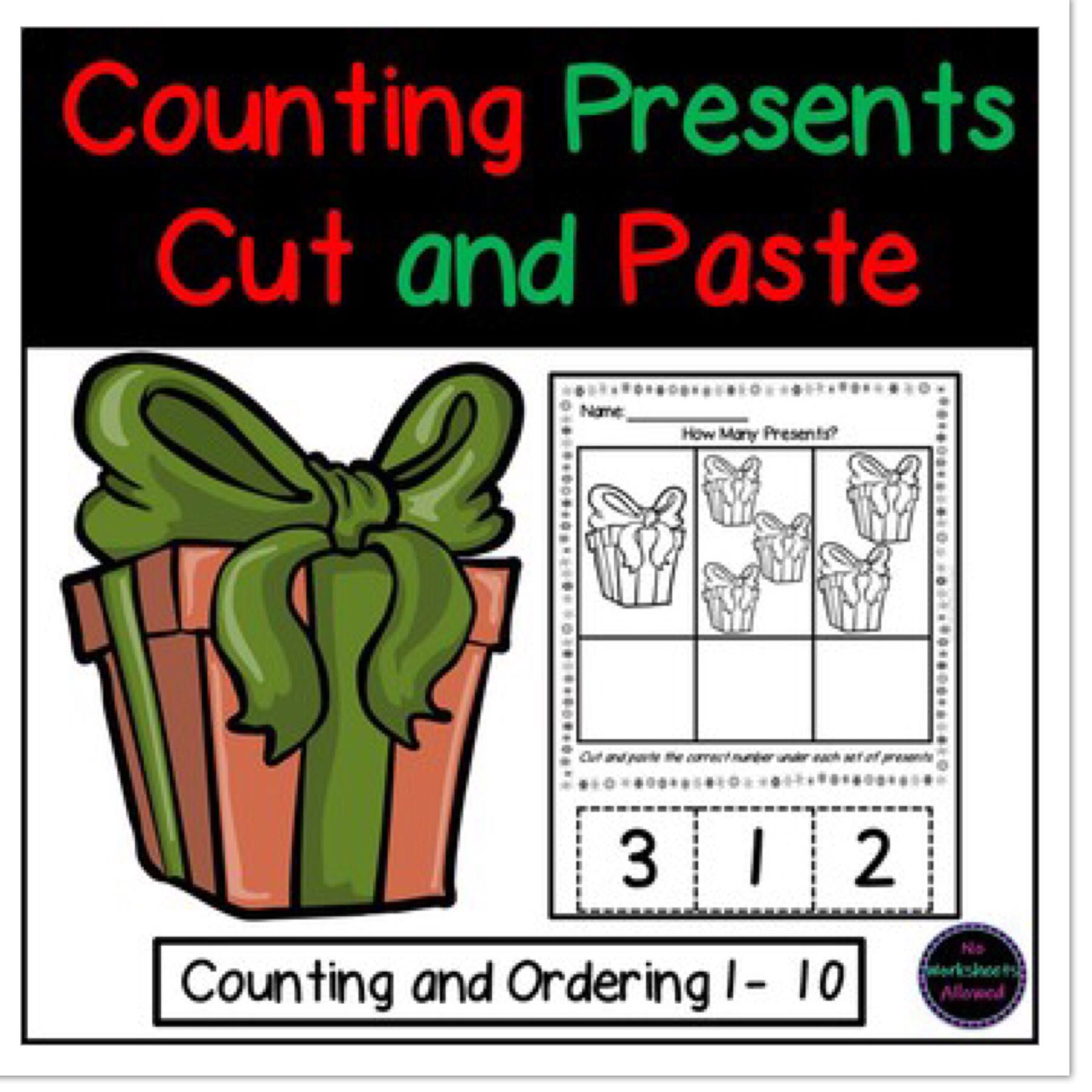 Christmas Math Counting To 10 Cut And Paste