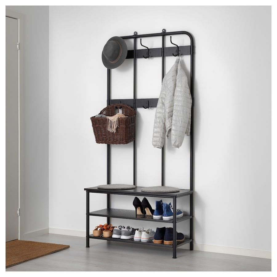 IKEA PINNIG Black Coat rack with shoe storage bench
