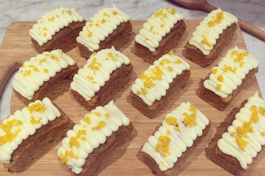 These zingy Orange Mini Loaf Cakes are deliciously light and refreshing - the perfect after dinner treat. Ingredients (makes 12 mini loaves)  •  220g Organic Self Raising Flour  •  4 Organic eggs  •  220g Organic Caster Sugar  •  220g unsalted butter  •  zest and juice of 2 organic oranges