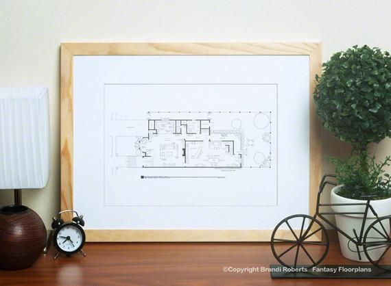 Full House Floor Plan for Danny Tanner Family Hand Drawn Poster Art in Black 1st Floor Great Gift NBC Today Show featured artist
