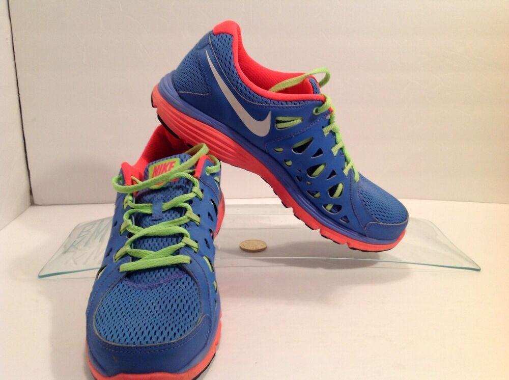 70c6da15ad8 Nike Dual Fusion Run 2 Size 11.0 Blue Neon Running Shoes  599564-400 ...