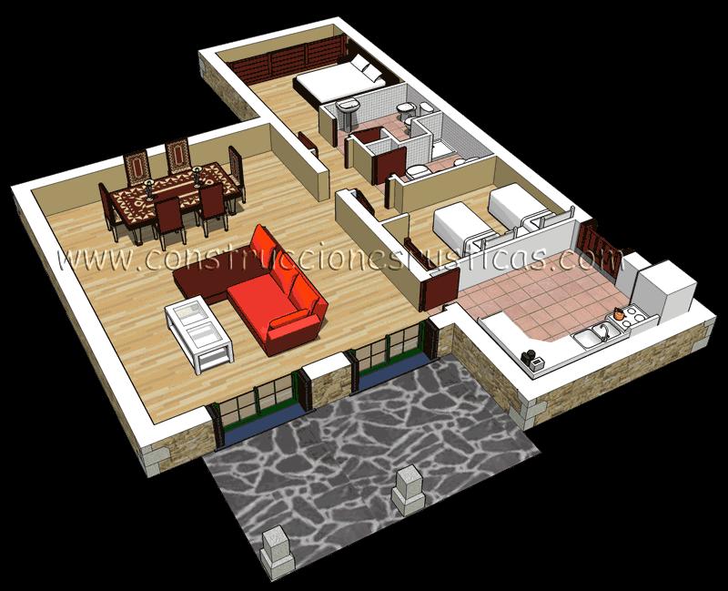 3d interior de una casa rustica de planta baja de 2