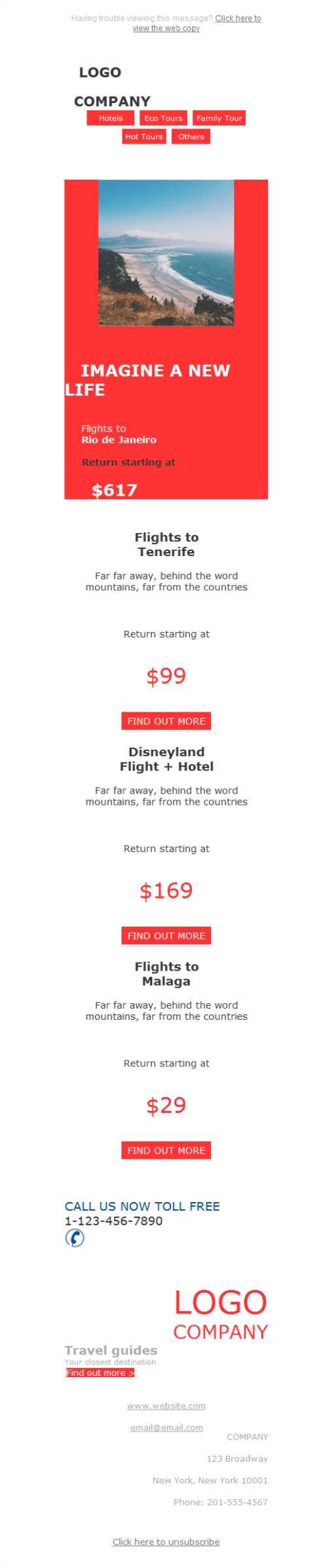 Todos los viajes al alcance de tu móvil gracias al diseño responsive de las plantillas newsletter de Mailify.