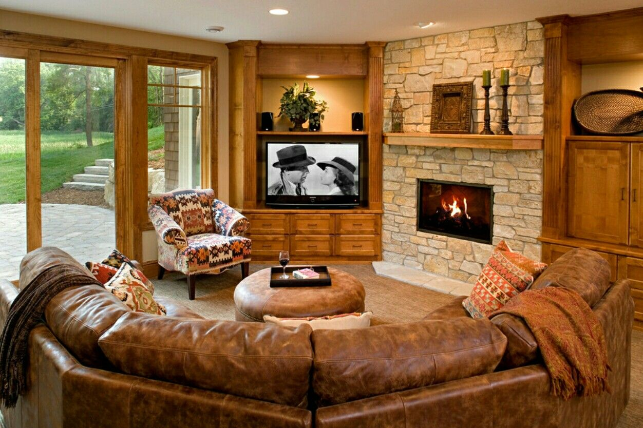 family room with octagonal walls tv on neighboring wall on family picture wall ideas for living room furniture arrangements id=70498
