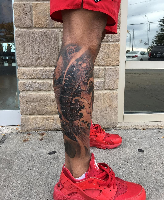 Calf Koi Fish Tattoo Leg Sleeve