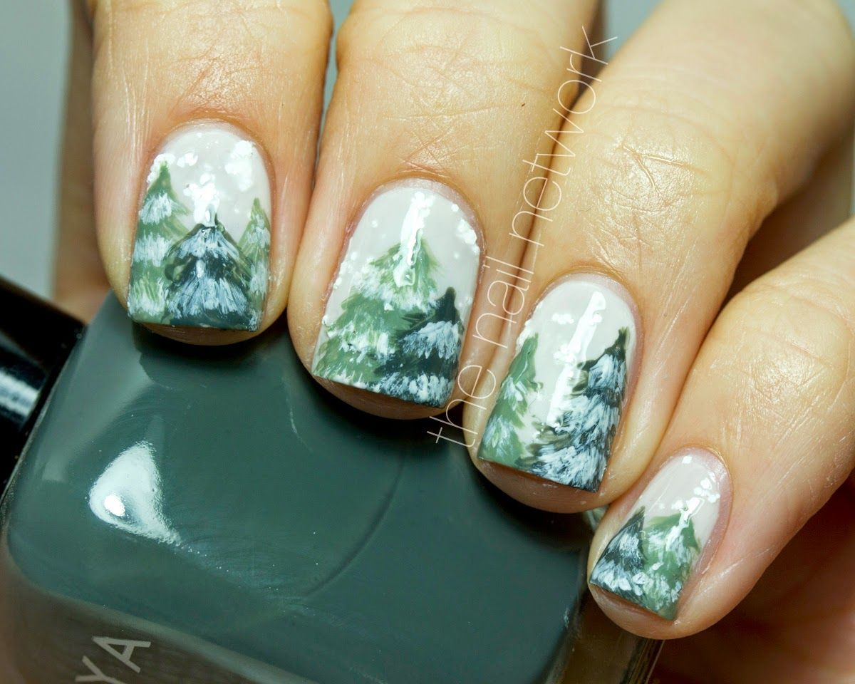 Winter Nail Art Snowy Nails Snowy Forest Nail Art Winter