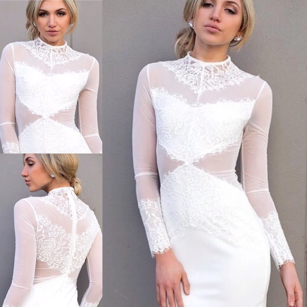 Long sleeve mesh with lace bandage dress products