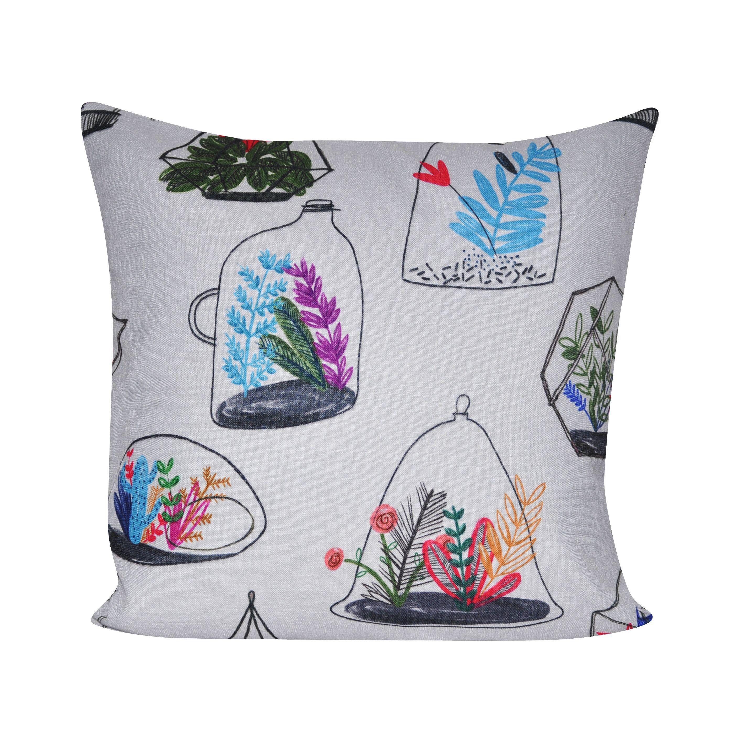 Loom and mill x inch terrarium decorative pillow multi blue