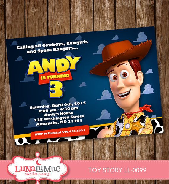 Toy Story Invitation Card Party Invite Birthday Card Toy Story Woody Ll 0099 Toy Story Invitations Invitation Card Party Woody Toy Story