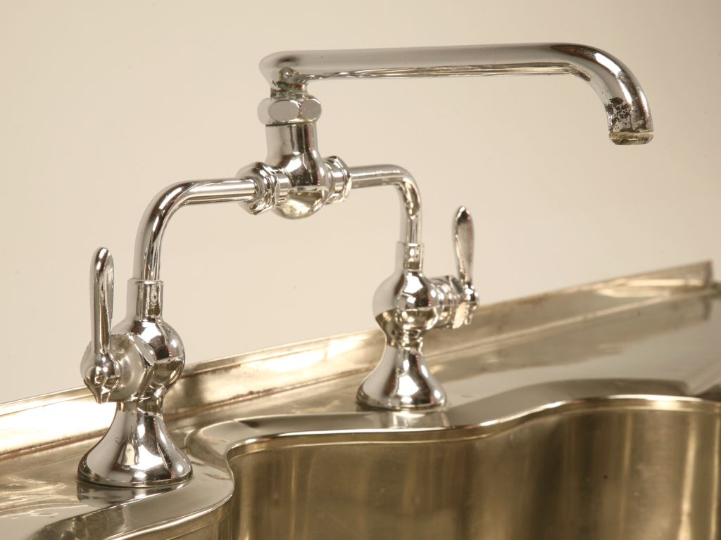 Stellar Antique German Silver Sink w/Faucet and Drainboards | Faucet ...