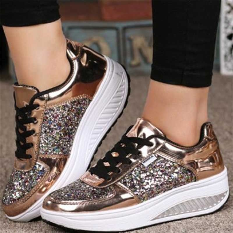 d4cd8eeb335 27.56 ❤ Platform Sequins Athletic Women Comfy Shake Sneakers Lace Up Sports  New Shoes ❤  platform  sequins  athletic  sneakers  sports  Older  ASOS ...