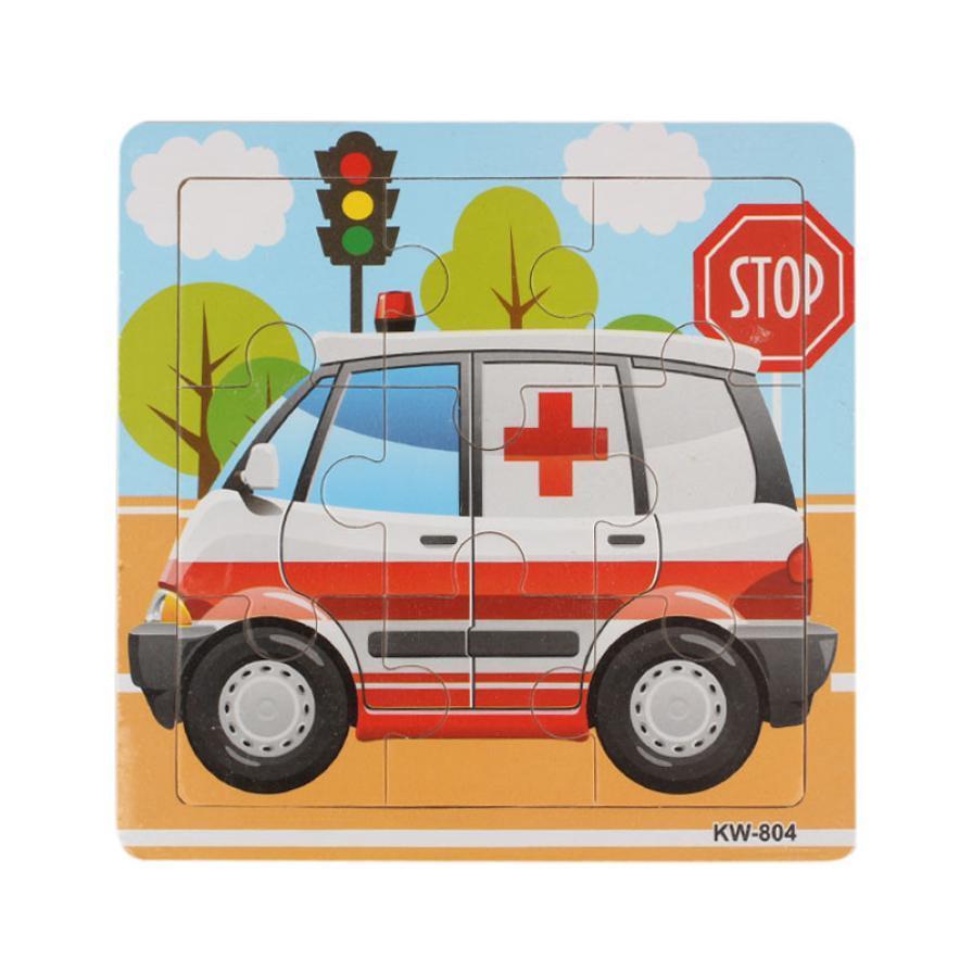 Educational car toys  Ambulance Wooden puzzles Kids Children Jigsaw brain teaser kids gift