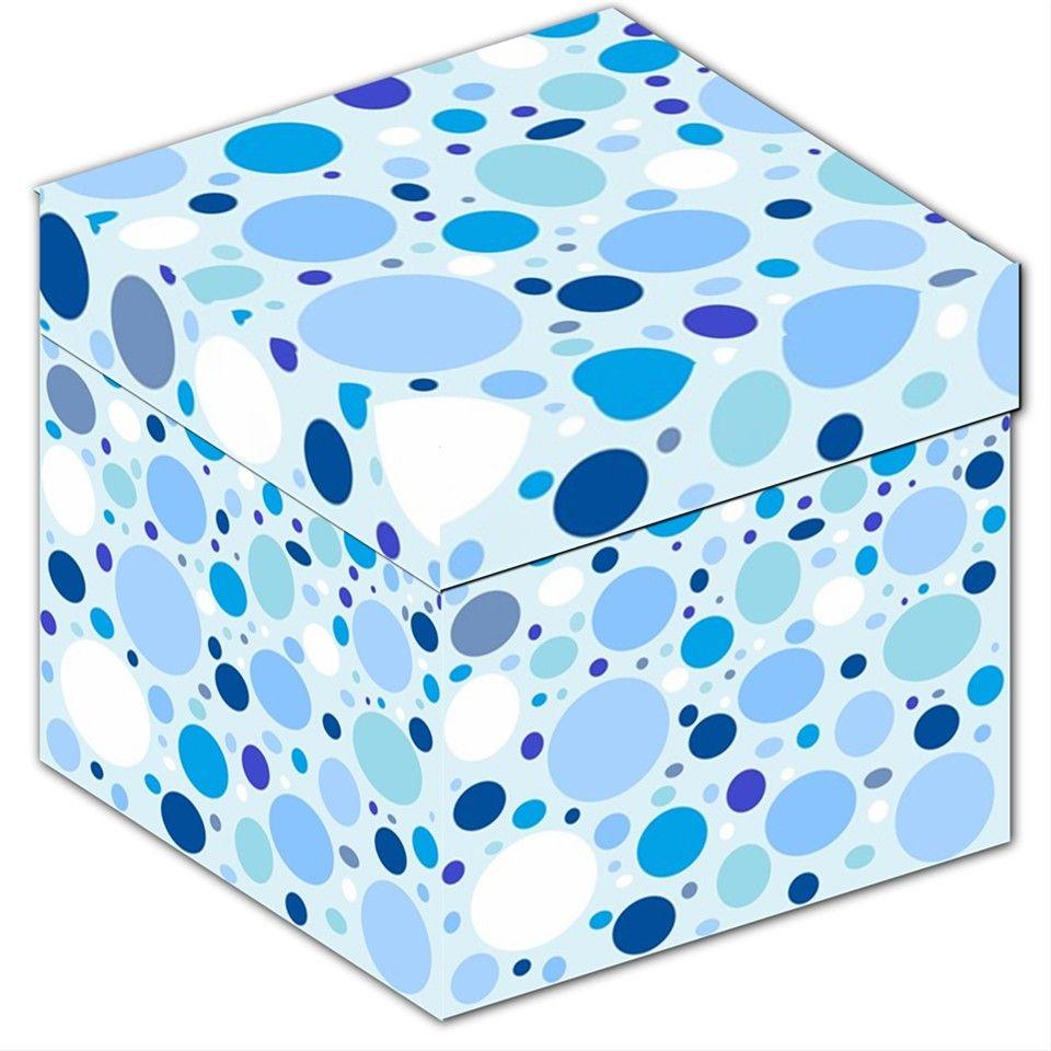 "Bubbly Blue Dots Storage Stool 12"""