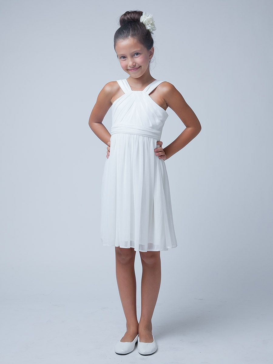 White Crossover Matte Jersey Dress | Wedding Ideas - Flower Girl ...