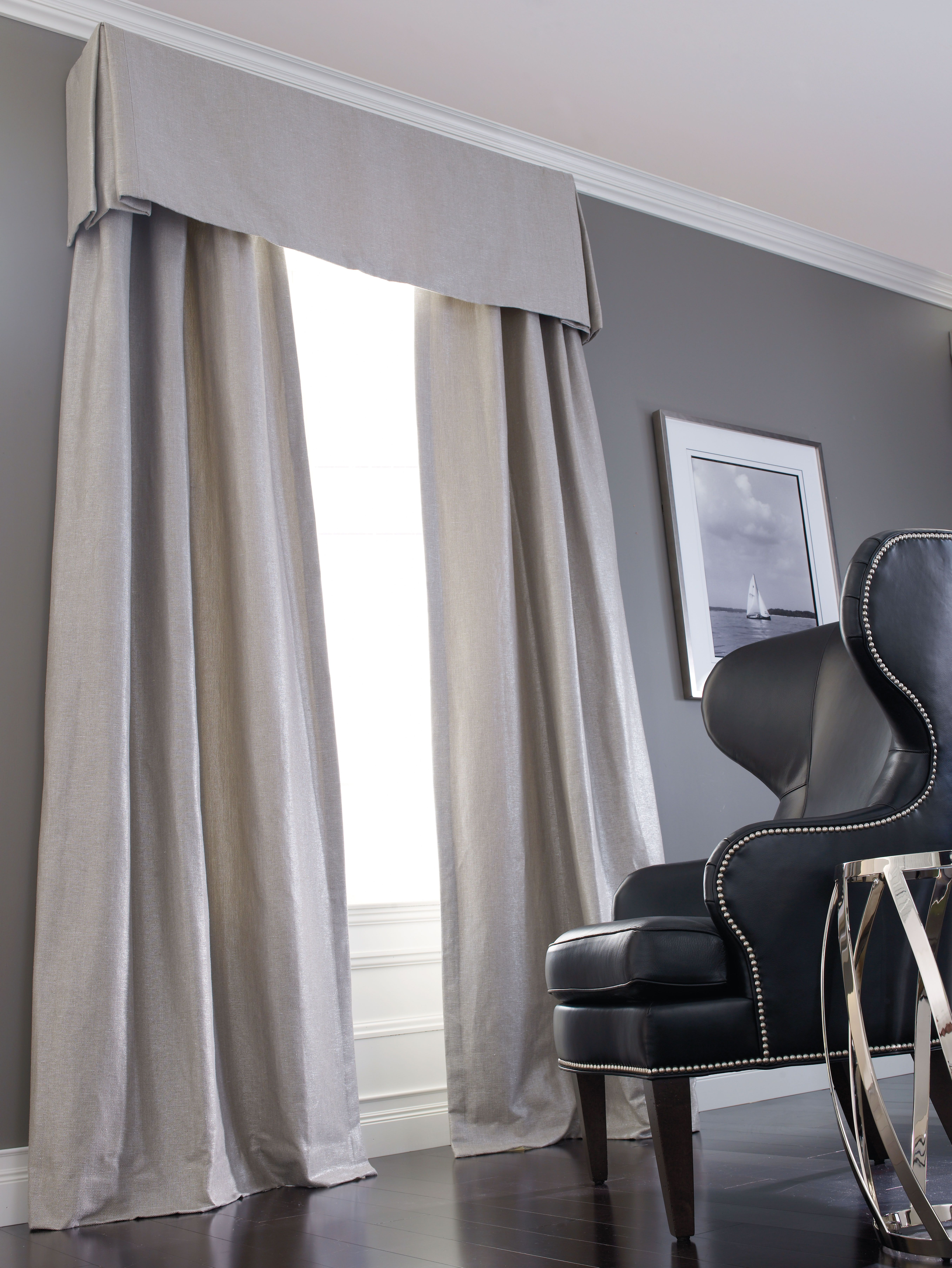 Dynamic duo structured linen and sleek black leather window