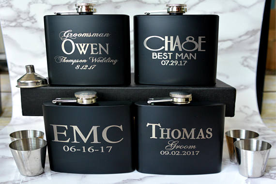 Set Of 6 Engraved Flask Git Sets Personalized Groomsmen Gifts