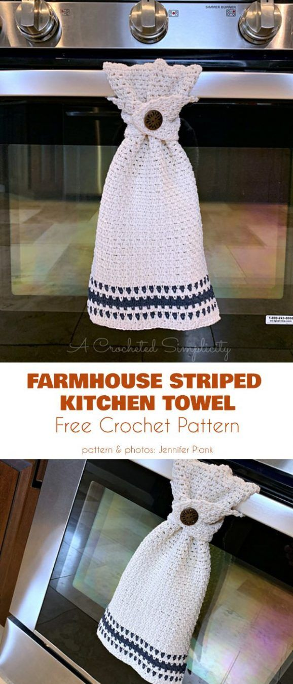 Kitchen Towel Free Crochet Patterns #crochethooks
