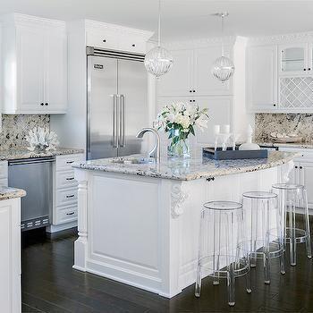 White Kitchen Cabinets with Tan Granite Countertops Bathroom