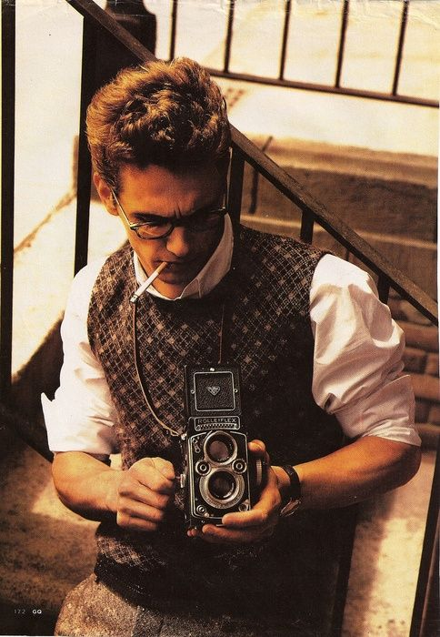 James Franco shooting with a vintage camera.