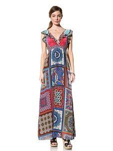 Hale Bob Women's Long Ruffle Dress (fuchsia/multi)