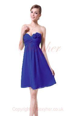 Gorgeous Strapless Sweetheart Lace Back Chiffon Bridesmaids Cocktail Dress