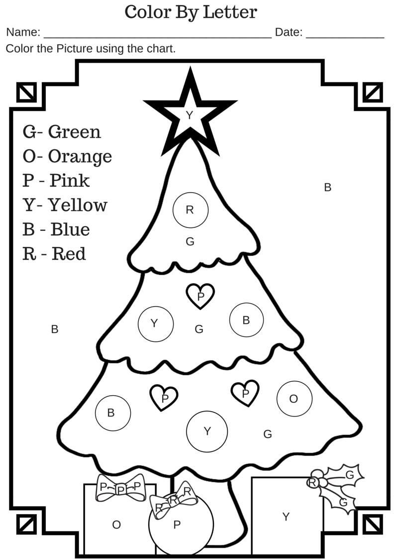 Color By Letter Christmas Tree Free Printable Worksheet | Molde ...