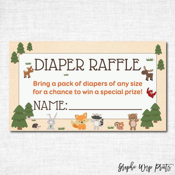 Woodland Diaper Raffle Ticket, Printable Diaper Insert Ticket
