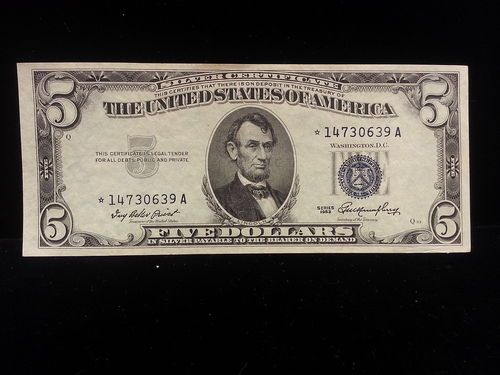 1953 5 Dollar Silver Certificate Star Note UNC Must See Q53 2216 ...