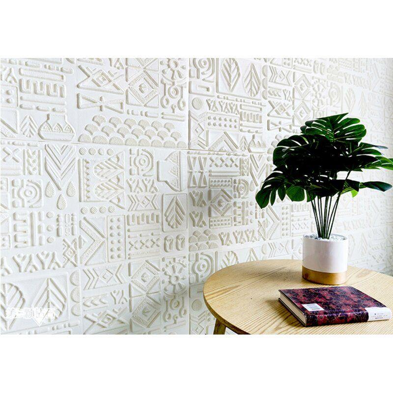 Romilda Ancient Tribe Art 2 3 L X 28 W 3d Embossed 1 Panel Peel And Stick Wallpaper Panel