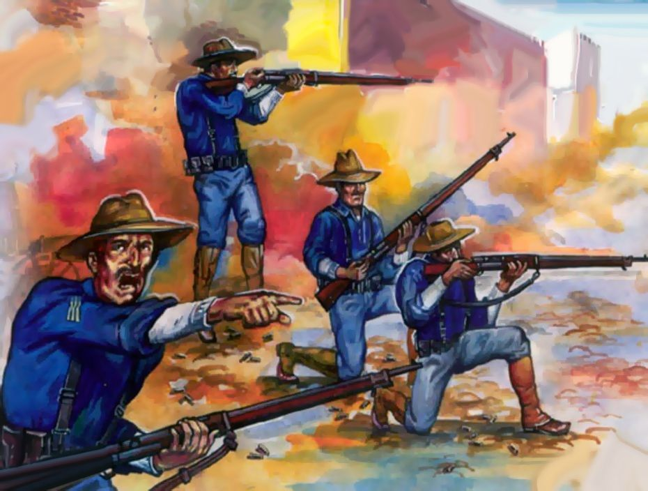 US Marines in battle in Beijing, Boxer Rebellion, China