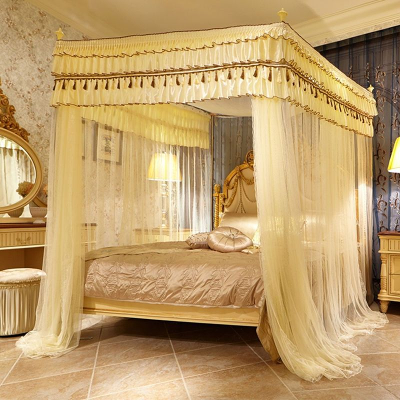 Room Bed Canopy Mosquito Net Bed Curtain With Four Corners Tubes