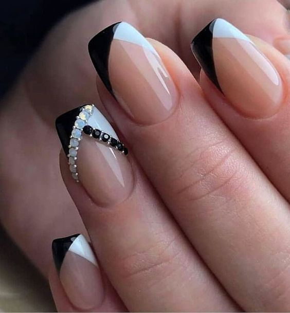 Elegant Black And White Short Nails Design Ideas Exceptional Look 2020 Molitsy Blog Square Acrylic Nails Cheap Nail Art Square Nails