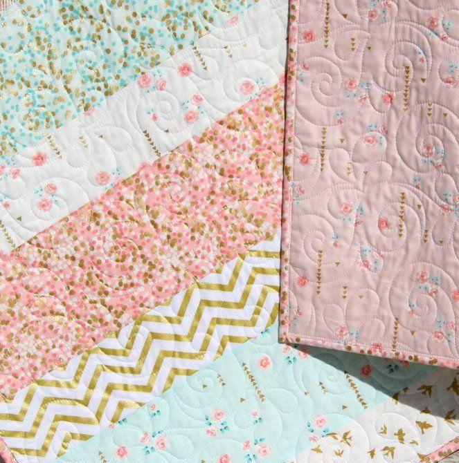 Toddler Quilt Child Quilt Modern Aqua /& Coral Baby Quilt