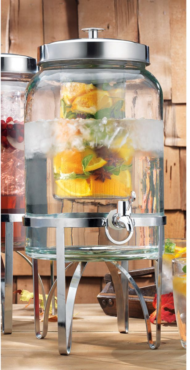 Glass Sangria Beverage Server With Ice Chamber And Spigot