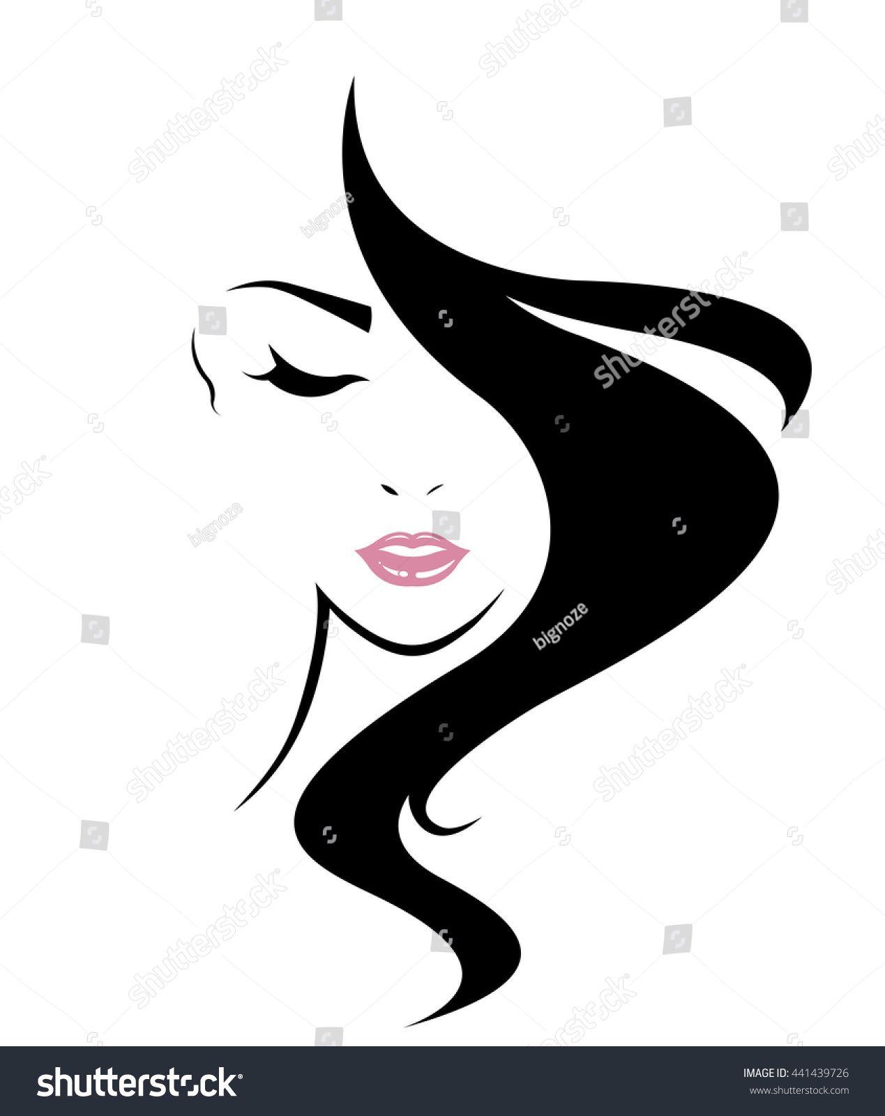 Long Hair Style Icon Logo Women Face On White Background Vector Sponsored Affiliate Icon Logo Style Long Silhouette Art Long Hair Styles Art