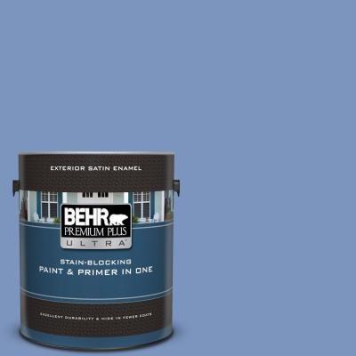 Behr Premium Plus Ultra 1 Gal M540 5 Blue Satin Satin Enamel Exterior Paint And Primer In One Interior Paint Exterior Paint Behr Marquee
