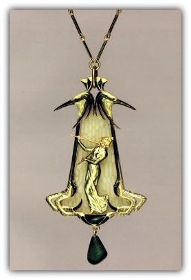 RENÉ LALIQUE |  'Diaulos Player' Pendant 1900-02. | Cleveland Museum of Art